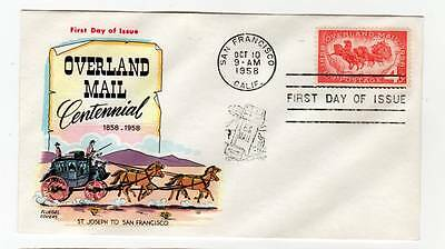 FDC # 1120 ~ Overland Mail 1958 ~ Fluegel Multicolor Cachet ~ Unaddressed