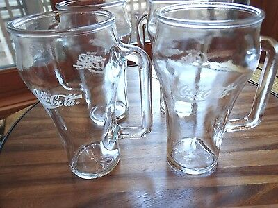 lot 4 Coca Cola ENJOY COKE heavy glass 16oz mugs Wheaton Glass co