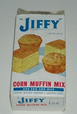 1960's Jiffy Corn Muffin Mix Box vintage grocery store item