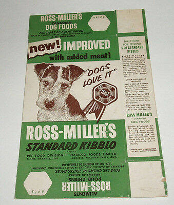 1950's Nabisco Ross MIller Dog Food Box - unused flat from Canada