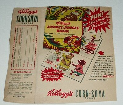 1950's Kelloggs Cereal box back w/ Jumbly Jungle Book offer