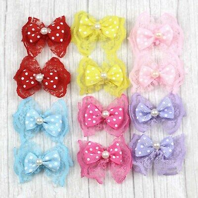 DIY 10-50-100PCS Pearl Lace bow Satin Ribbon Flowers Wedding Appliques Bowknot