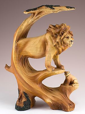 Lions Carved Wood Look Figurine Resin 8.75 Inch High New In Box