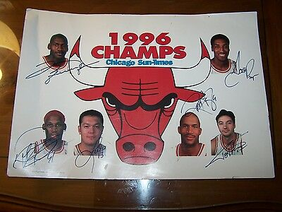 1996 Chicago Bulls 11 x 16 Chicago Sun Times Poster Signed auto'ed Jordan Pippen