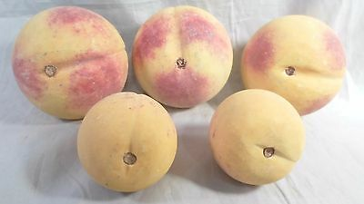 old Italian Alabaster Stone Fruit lot 3 Three Peaches 2 Two Apricots Italy