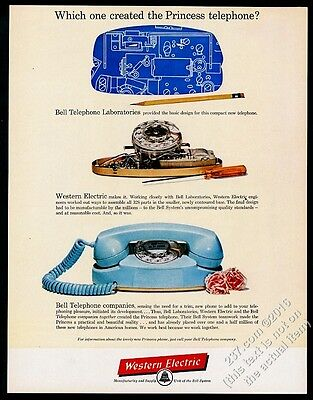1961 Western Electric Princess Phone blue telephone photo & blueprint print ad