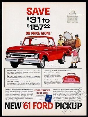 1961 Ford Styleside pickup red truck vintage print ad