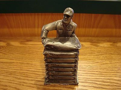 Rare Vintage Pewter Dekalb Seed Paper Weight Award Feed Seed Farm Corn Ag AS IS