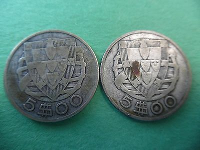 Lot of (2) 1932 Portugal 5 Escudos coins .650 Silver Nice and collectable K556