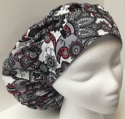 Floral Paisley Large Medical Bouffant OR Scrub Cap Surgery Hat