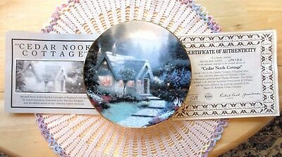 Thomas Kinkade CEDAR NOOK COTTAGE 2nd Issue In Garden Cottages Plate COA Mint