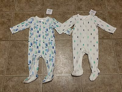 NWT Gymboree Baby Boys Lot Of 2 Footed Pajamas Size 6-9 Months 100% Cotton