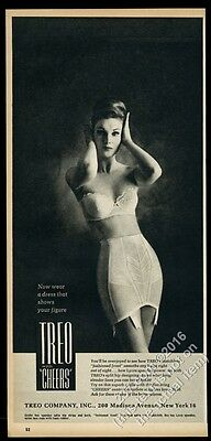 1962 Treo lingerie bra spandex Lycra girdle woman photo print ad