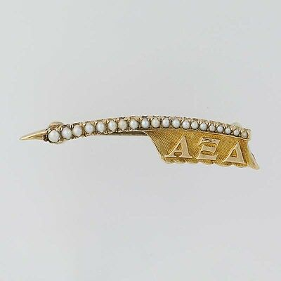 Alpha Xi Delta Badge - 14k Yellow Gold Pearls Sorority Greek Vintage Quill Pin