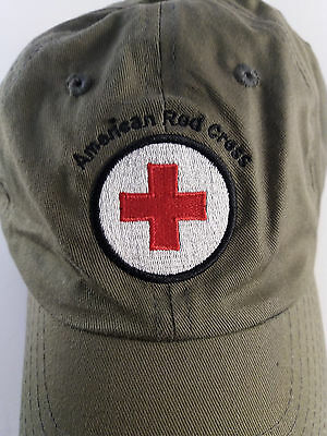 American Red Cross Army Green Adjustable Baseball Cap/Hat Embroidered Logo