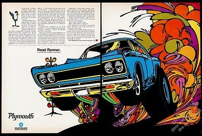 1968 Plymouth Road Runner Roadrunner blue car psychedelic art vintage print ad