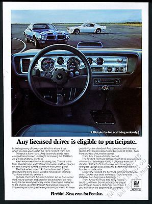 1970 Pontiac Firebird Trans Am white blue car photo vintage print ad