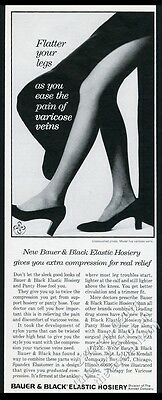 1973 Bauer & Black pantyhose woman's legs photo vintage print ad