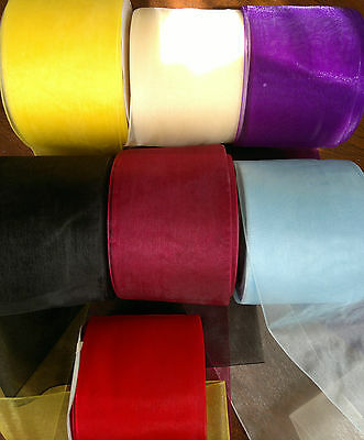 """1 m/ 5 m/ 10 m 3.2"""" 80 mm Organza Ribbon  Bow Party Supply Decor Various Colours"""