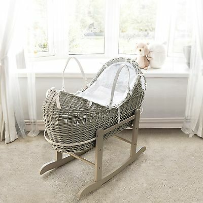 Grey Pod Moses Basket With Honeycomb Dressing On Deluxe Grey Rocking Stand
