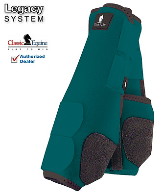 Classic Equine LEGACY SYSTEM TEAL Front  M SMB Leg Vented Neoprene Sport Boots