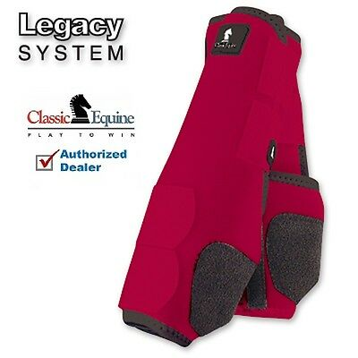 Classic Equine LEGACY SYSTEM Red Front M SMB Leg Vented Neoprene Sport Boots