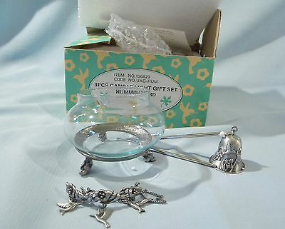 HUMMINGBIRD Tealight Glass Candle Holder and Snuffer