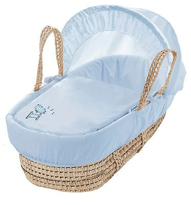 Clearance Sleepy Sheep Blue Palm Moses Basket With Padding