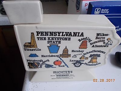 Michter's Whiskey Pennsylvania Map Shaped Keystone State Toby Decanter