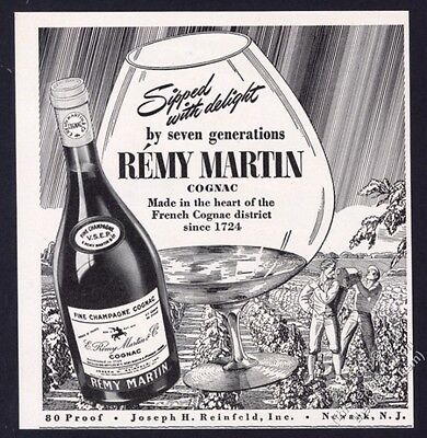 1940 Remy Martin cognac bottle photo French vineyard art vintage print ad