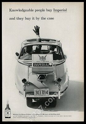 1958 BMW Isetta car photo Hiram Walker Imperial whiskey vintage print ad