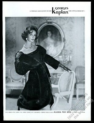 1961 Georges Kaplan Fouke fur coat beautiful woman photo vintage fashion ad