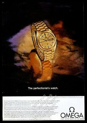 1969 Omega Constellation chronograph gold watch photo vintage print ad