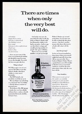 1975 Maker's Mark Bourbon Whisky When Only The Best Will Do vintage print ad