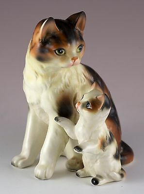 """Vintage Ceramic Calico Mother Cat With Kitten Figurine 5"""" High"""
