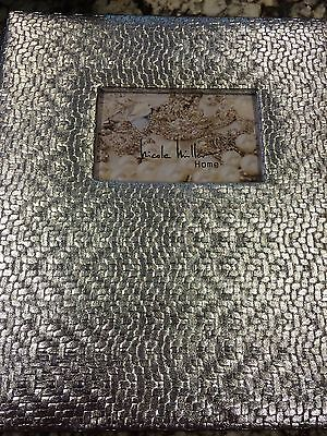 New Gorgeous Nicole Miller Metallic Silver 11x13 Photo Album Holds
