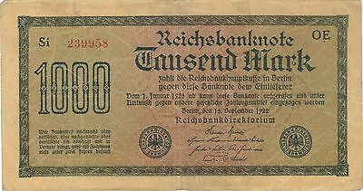 1922 1000 Mark Germany Reichsbanknote Currency Note German Banknote Bill Money