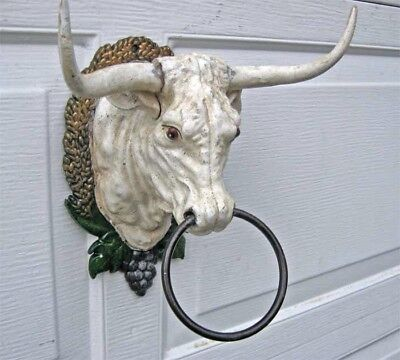 Steer-Head  Wall Mount Cast Iron  Rustic Painted Finish