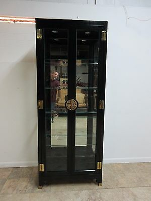 Vintage Mid Century Asian Chinoiserie Crystal China Cabinet Display Hutch