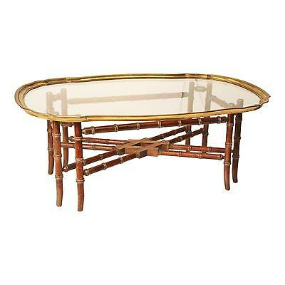 Faux Bamboo COFFEE TABLE Brass & Glass Top vintage mid century hollywood regency
