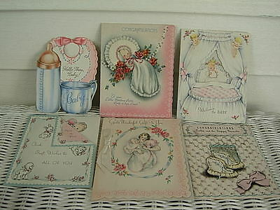 Lot Of 6 Vintage 1940's Baby Cards Used One Pop-Up