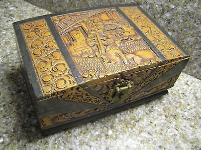 3pt8 VINTAGE JAPAN CARVED WOOD & BRASS JEWELRY BOX CHEST