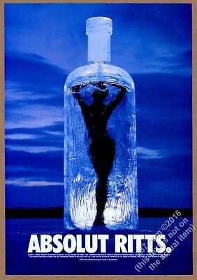 1999 Absolut Ritts Herb Ritts woman in vodka bottle photo vintage print ad