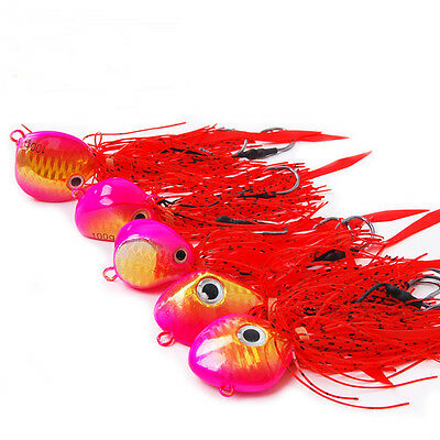 5PCS Fishing Lead head Swim squid Bass Rubber Jig Jigging Spinner bait Lure 100g