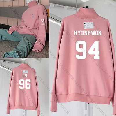 KPOP Monsta x Turtleneck Pink Sweater Shownu WONHO Hoodie Unisex Sweatershirt