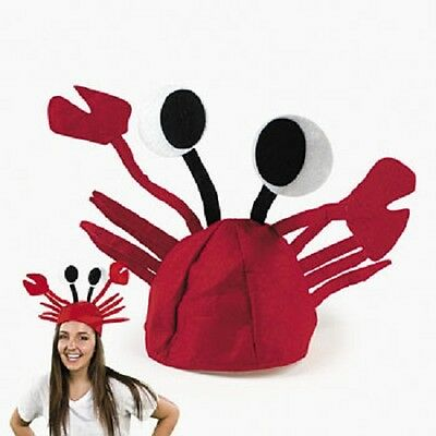 Red Felt Crab Hat Party Costume Adjustable Fits Child or Adult