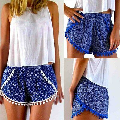 Women Summer Beach Hot Pants Elastic High Waist Floral Shorts Stretchy Trousers