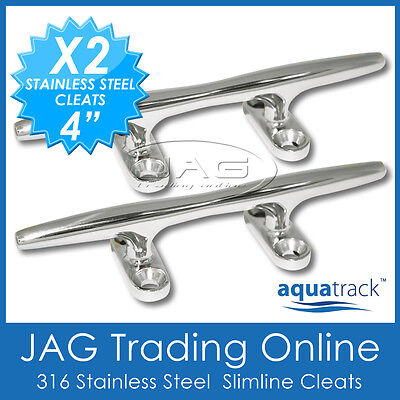 "2 x 4"" 100mm 316 STAINLESS STEEL MARINE GRADE SLIMLINE BAR ROP CLEAT- Boat/Yacht"