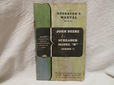 "Vintage John Deere Operator's Manual Models ""R"" Spreader (Series 1)"