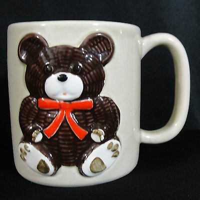 Otagiri Teddy Bear Hand Painted Mug Coffee Tea Cup Red Ribbon 3D Raised Design